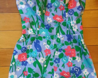 adorable retro floral print romper by sea waves size M