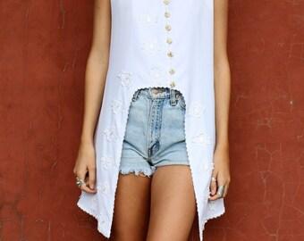 Vintage White Boho Gypsy Shirt Dress  8