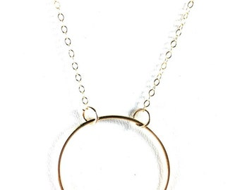 Gold Filled Circle Pendant Necklace, Circle Necklace, Large Circle Pendant, Dainty Necklace, Large Circle Necklace,