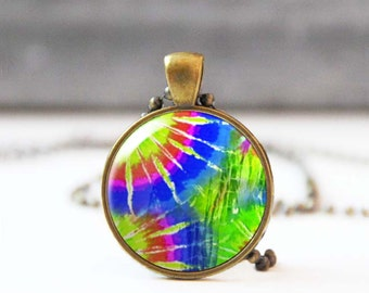 60s retro necklace, Tie dye necklace, Hippie necklace, Colorful photo necklace, Pendant necklace, Bohemian jewelry, Psychedelic necklace
