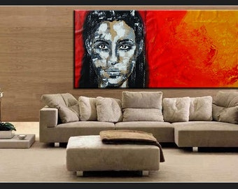 "Portrait XXL 28"" x 60"" inch black white red orange yellow original big size xxl handpainted abstract figurativ large xxl extra unique"