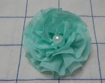 Chiffon Ruffle Flower Bow, Chiffon Flower Bow, Hair Bow, Mint Bow, Flower Bow,Girls Bow, Hair Bow, Hair accessories
