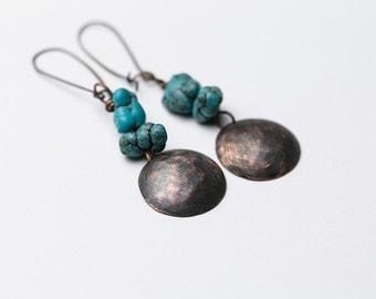 Rustic earrings Boho earrings Copper earrings Turquoise earrings Gemstone Hammered copper Minimalist earrings Statement Metalwork Artisan