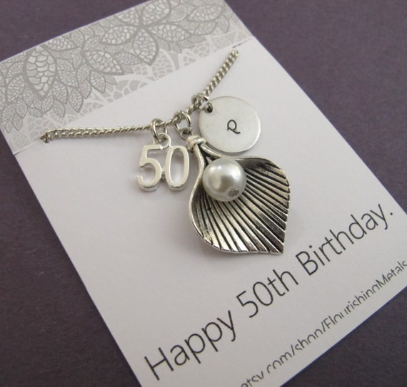 50th Birthday Gifts Mom Gifts Calla Lily Flower Necklace For