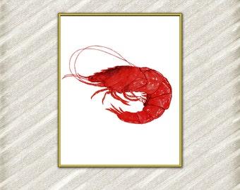 "Watercolor shrimp digital print: ""OCEAN ANIMALS"" kitchen decor Ocean cousine Ocean Print Nursery Decor Printable Shrimp Restaurant Decor"