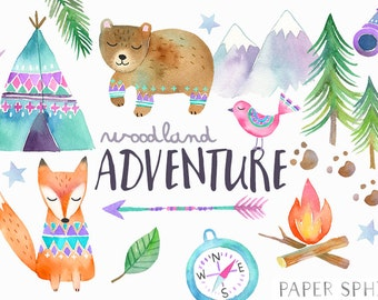 Watercolor Adventure Clipart | Woodland Tribal Animals Clipart - Fall Camping Graphics - Teepee/ Tent, Forest Bear, Fox - Baby Nursery Art