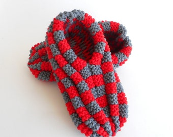 Slippers phentex checkered man and woman, dark gray color and red, ready to ship, ready to ship
