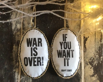 Happy Christmas - War Is Over! Christmas Tree Decoration/Ornament  Beatles John Lennon Protest Typography