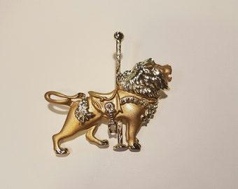 Retro Carousel Roaring Lion Brooch