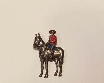 Vintage Enameled Copper Canadian Mountie Brooch