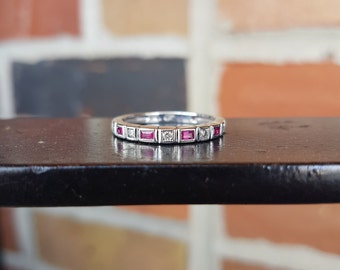 Designer Diamond & Created Ruby Wedding Band 14k White Gold