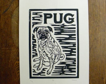 Original Pug Linocut Print - Hand Carved and Hand Printed