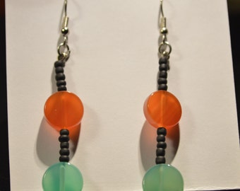 Beaded Earrings With Orange and Green Round Beads