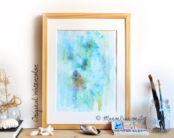 Original Watercolor-Abstract painting-Sea painting-seabed-turquoise-Corals-shells-Marine decoration-child bedroom-unique gift-birthday
