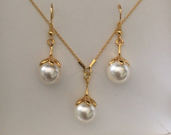 24K Gold Plated Sterling Silver Swarovski Crystal Pearl Necklace Earrings Set Wedding Bridal Jewellery