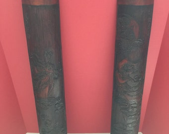 Pair of Antique Handcarved Chinese Wooden Wall Hangings Half Cylinder Shape Rare