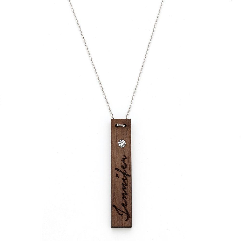 vertical bar name necklace custom name necklace