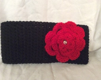 Crochet earwarmer, Huskers, flower headband, flower hat, winter hat