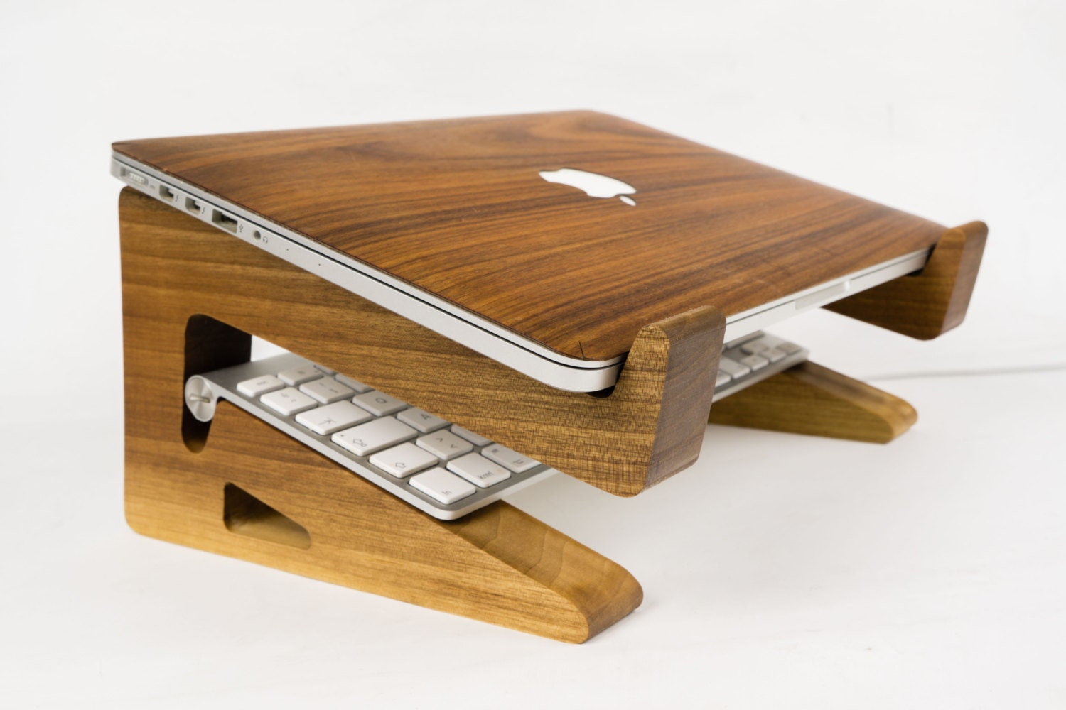 Walnut wood laptop stand riser macbook