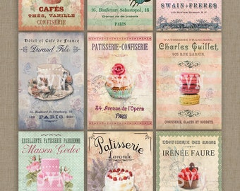 Paris Patisserie | Shabby Chic Style | Digital Collage Sheet Download |  For postals, gift tags, scrapbooking, invitations, cards etc...