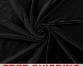 Stretch Velvet Black Fabric-60'' Wide-Sold by the yard-Perfect for Apparel Costumes & Crafts. Free Shipping