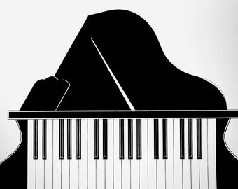 Piano Illustration with Frame