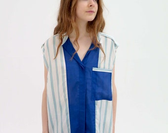 1980's style pinstriped shirt, size s-m