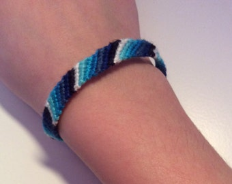 Blue ombré candy stripe friendship bracelet