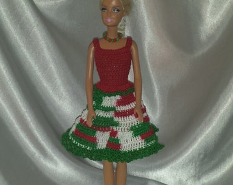 Crocheted Barbie Christmas Outfit, Festive Fashion Doll Crocheted Skirt, Handmade Barbie Doll Multicolored Skirt and Red Top