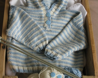 Hand Knitted Cashmere, Striped Hoodie, age 3-6 months