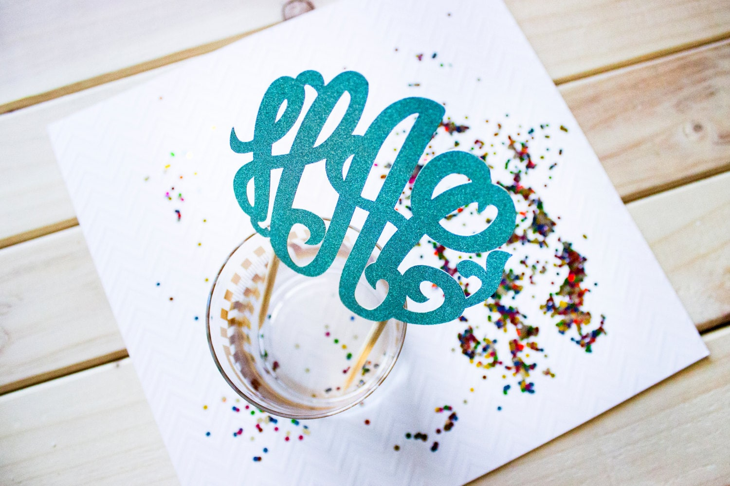 Cake Decor Glitter : Custom Glitter Monogram Cake Topper // Monogram Party Decor