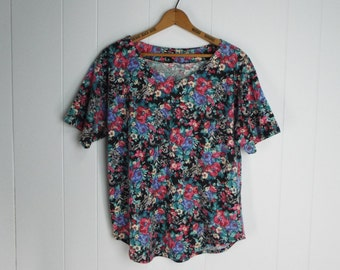 Vintage Womens 1990s Floral Print V-Neck T-Shirt | Size Up to L