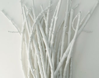 White Painted Branches White Sticks Table Decor Craft Supply Wedding Table 25 Count Vase Filler Sticks