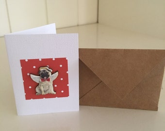 Small Pug Dog Christmas Gift Card Tag with Envelope Red Spots Angel Wings Cute Handmade
