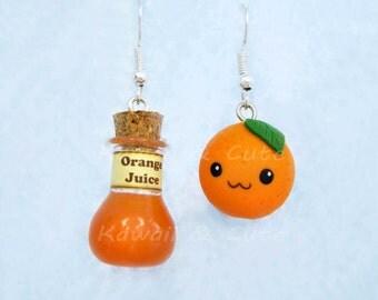 Earrings Orange and Bottle of Juice