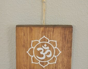 Om Sign with Lotus Flower - Wood SIgn
