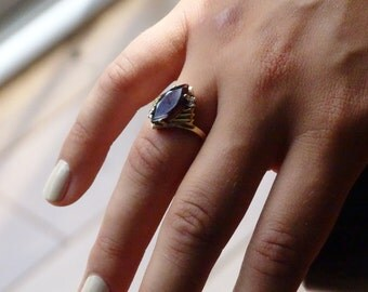 Garnet Diamond 14K Gold Ring Size 6