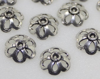 Bead Caps, Sterling Plated, 14mm, 12Pcs