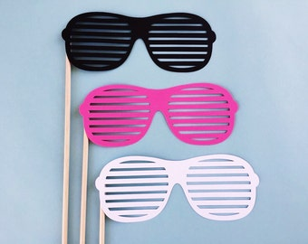 Shutter Shades Photo Props - Party Glasses Photo Booth Props - Sunglasses Props - Fully Assembled - 3 Pcs