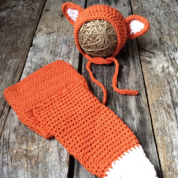 Fox Hat, Fox Diaper Cover, Fox Bonnet, Orange Diaper Cover, Fox Photo Prop, Newborn Photo Prop