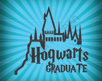 Hogwarts Graduate Harry Pottery Inspired Cutting Template SVG EPS Silhouette DIY Cricut Printable Art Poster Vector