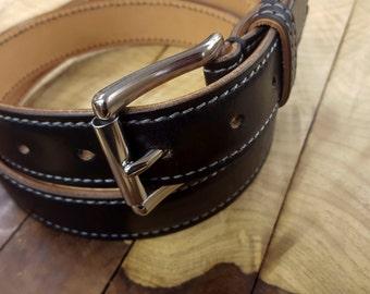 Dover Belt by 9 Gents, Black Leather Belt, Horween Leather Belt, Chromexcel Leather, Men's Leather Belt, Handcrafted Dress Belt, Made in USA