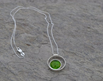 Lime Green Glass. Sterling Silver Double Circle Necklace