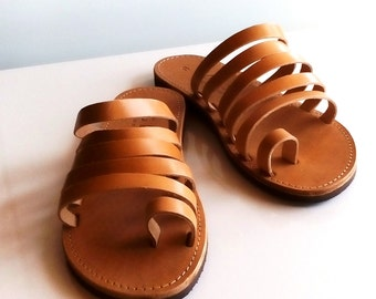 leather sandals, slide sandals, womens shoes, slip on sandals, flat shoes, ancient greek sandals, summer shoes, shoe laces, gift for her
