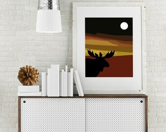 "Modern Wall Art, Wall Art Print, Modern Walll Decor, Marsala Decor, Giclee, Sky Art, Moon Art, Moose Artwork, Moose Print, ""Same Moon Moose"""
