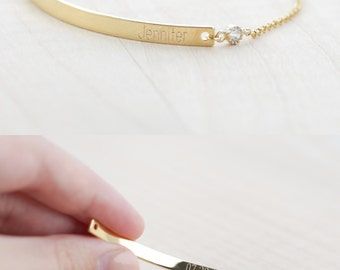 Bridesmaid Gift - Bridesmaid Jewelry - Bridesmaid Bracelet (Gold Bar Bracelet with CZ)