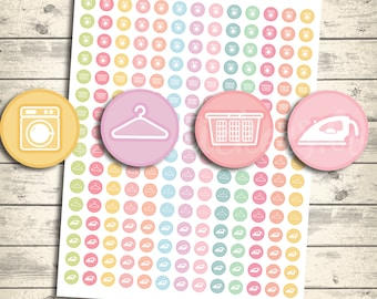 Laundry Icon Stickers Set, Printable Planner Stickers for Erin Condren Planners,MAMBI, Happy Planner, Eclp Icons, Pdf + Jpeg
