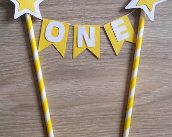 Star Cake bunting, Flag banner, Star cake topper, Yellow star topper, Twinkle twinkle little star,  Cake topper, Baby shower, 1st birthday