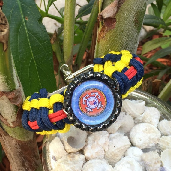 Paracord Bracelet, Coast Guard charm image, stainless steel adjustable shackle buckle , nautical themed