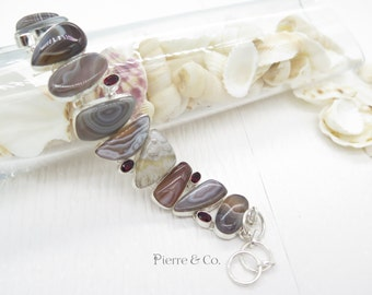 Lace Agate and Garnet Sterling Silver Bracelet